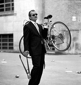 Bill Murray steals a bike.