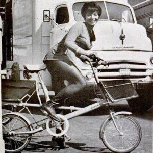 Nichelle Nichols rides a bike.