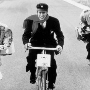 Keisuke Horibe, Shinichi Tsutsumi and Ren Osugi ride bikes.