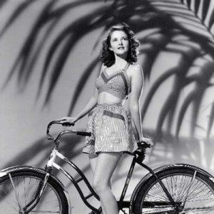 Martha Vickers contemplates riding a bike.