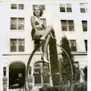 Grace Bradley rides a bike.