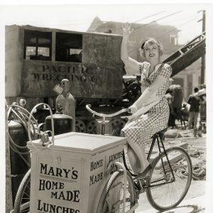 Genevieve Tobin rides a lunch trike.