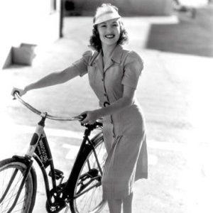 Betty Grable borrows a bike.