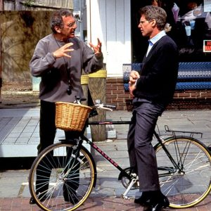 Harrison Ford rides a bike. Sydney Pollack directs.