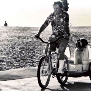 Charles Grodin rides a bike. Beethoven trailers along.