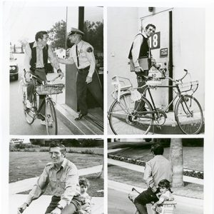 Joseph Campenella rides a bike. Tetraptychly.