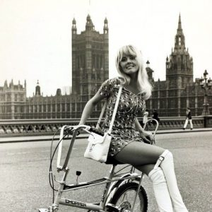 Yutte Stensgaard sits on a bike. (RIP, Alan Oakley, Raleigh Chopper designer, 1926-2012)