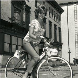 "Jill St. John rides a bike – ""Jill Baby."""