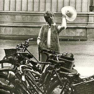 Susannah York and bikes.