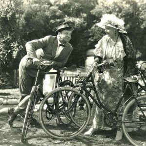 Wallace Beery and Greta Meyer and bikes.