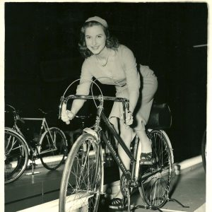 Valerie Carton rides a bike. Stationarily.