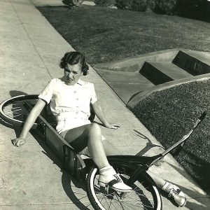 Maxine Doyle falls off an Ingo scooter bike.