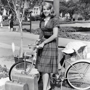 Jane Fonda poses with bike.