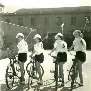Mae Madison, Geraldine Barton, Ruth Hall and Shirley Chambers get set for bike polo.