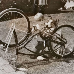 Jon Provost and Lassie fix a bike.