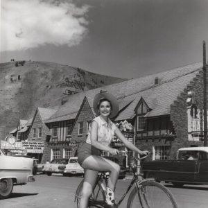 Felicia Farr mounts a bike in Jackson Hole.