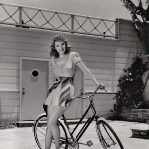 Claire Dodd models a bike.