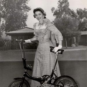 Jan Chaney walks a bike – a Katakura Silk folding bike.