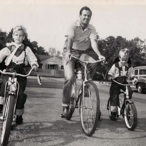 Peter, William and Scott Holden ride bikes. Happy Father's Day from Rides a Bike!
