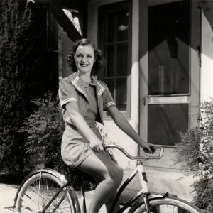 Joy Hodges rides a bike.