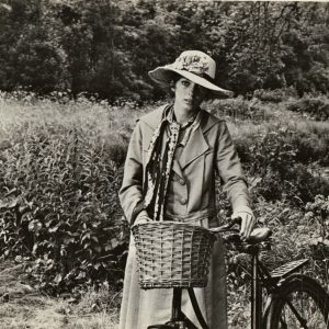 Joanna Shimkus walks a bike.