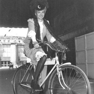 Mary Murphy rides a bike.