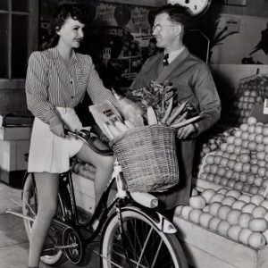 "Frances Gifford rides a bike – and craves vegetables.HEALTHY DIET belongs to Frances Gifford, feminine star of Paramount's ""American Empire,"" who craves vegetables on these hot days."