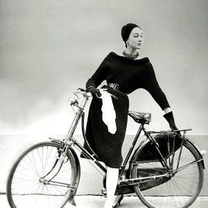 Ivy Nicholson models a bike.