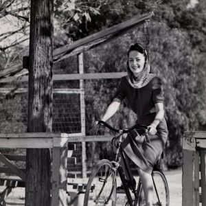 Olivia de Havilland rides a bike. Happy 99th!