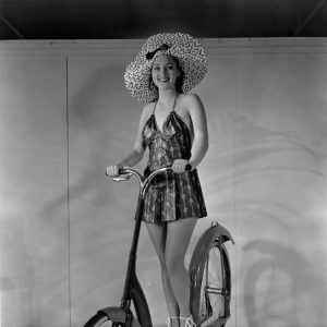 Marian Marsh rides an Ingo-bike.