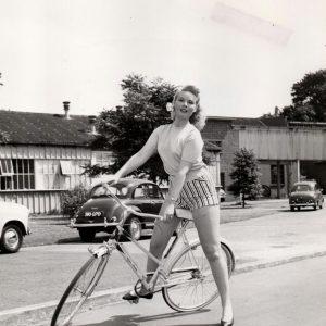 Jo Morrow rides a bike.