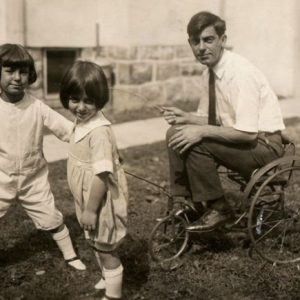 Eddie Cantor rides a trike, pulled by two of his daughters. Happy Father's Day from Rides a Bike!