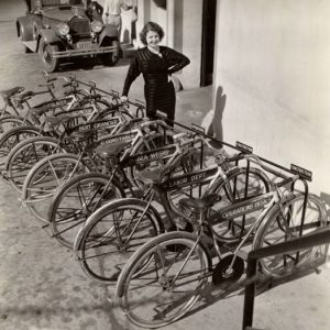 Ann Sheridan chooses a bike.
