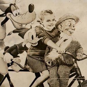 Goofy, Donald Duck, Luana Patten and Mortimer Snerd ride a bike. Happy Thanksgiving from Rides a Bike! Our 6th anniversary today!