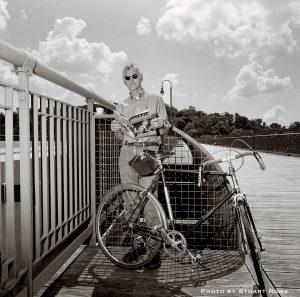 Steven Rea with a bike