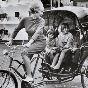 Janet Leigh rides a pedicab. Happy Mother's Day from Rides a Bike!
