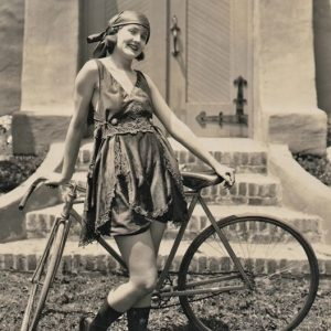 Harriet Hammond models a bike.
