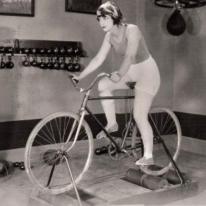 Kathleen Key rides a bike.