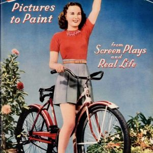 Deanna Durbin rides a bike. Colorfully.