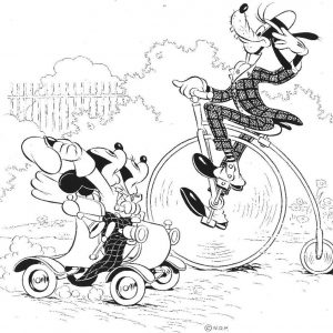 Goofy rides a high wheel bike, Mickey and Minnie drive by.