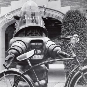 Robby the Robot gets ready to ride.