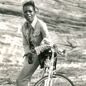 Cicely Tyson with her bike.
