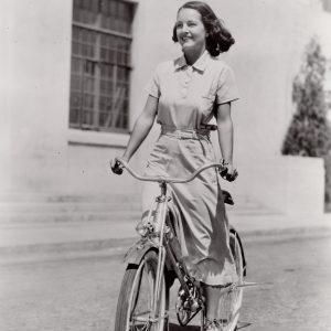 Rochelle Hudson rides a bike.
