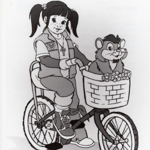 Punky Brewster and Glomer ride a bike.